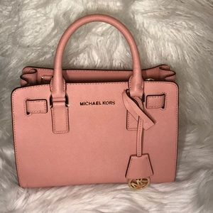 DILLON PALE PINK LEATHER SATCHEL